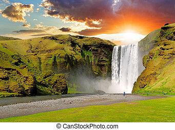 chute eau, -, islande, skogafoss