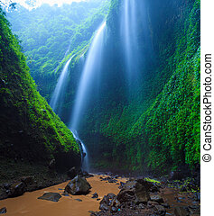 chute eau, java, est, madakaripura, indonésie