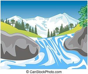 chute eau, montagne