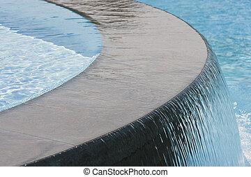 chute eau, piscine, natation