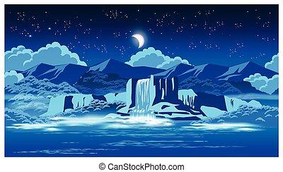 chute eau, pittoresque, nuit
