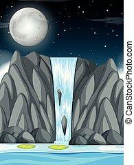 chute eau, scène, nuit
