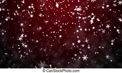 chute neige, arrière-plan rouge