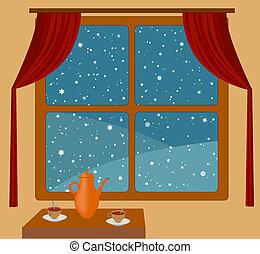 chute neige, dehors, fenêtre