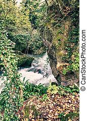 chutes d'eau, abrutissant, marmore, ombrie, vue