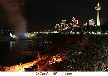 chutes du niagara, -, ville, nuit