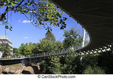 chutes, greenville_, sous, rivière, parc, reedy, pont, sc, ...