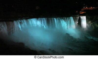 chutes, nuit, niagara