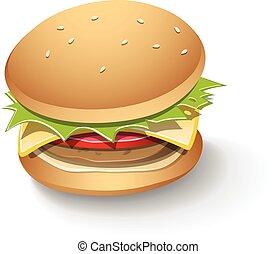 chutný, hamburger, karikatura