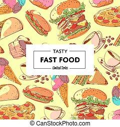 chutný, hustě food, plakát, s, takeaway, menu