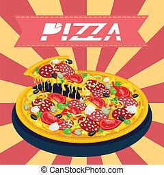 chutný, pizza, za