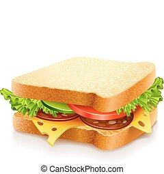 chutný, sendvič, s, sýr, a, zelenina