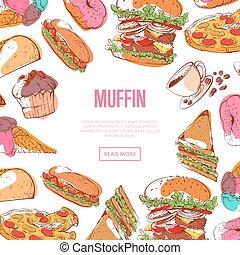 chutný, vdoleček, menu, s, hustě food, skica