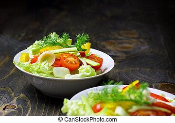chutnat jak, zdravý food, -, nedávno rostlina, salát