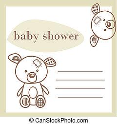chuva bebê, anúncio, cartão