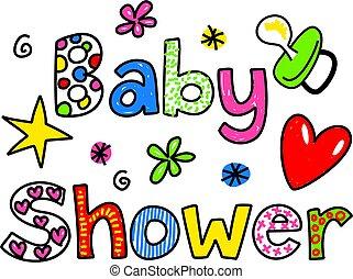 chuva bebê, caricatura, clipart, texto