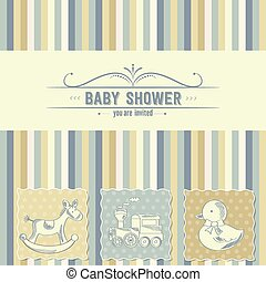 chuva bebê, cartão, com, brinquedos retro
