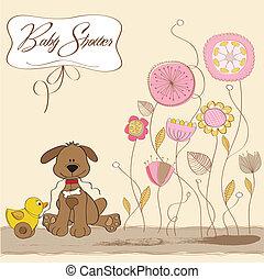 chuva bebê, cartão, com, cão, e, pato