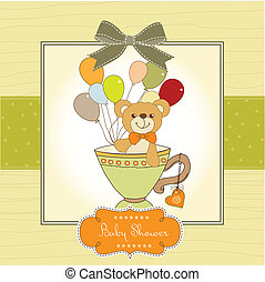 chuva bebê, cartão, com, cute, urso teddy