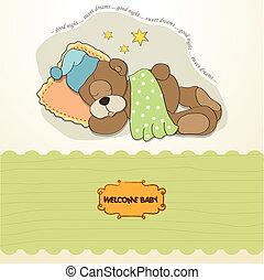 chuva bebê, cartão, com, dormir, urso teddy