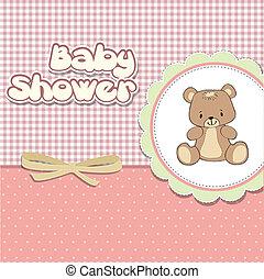 chuva bebê, cartão, com, pelúcia