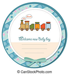 chuva bebê, cartão, com, trem brinquedo
