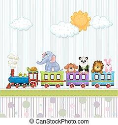 chuva bebê, cartão, com, trem