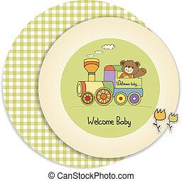 chuva bebê, cartão, com, urso teddy, e, trem, brinquedo