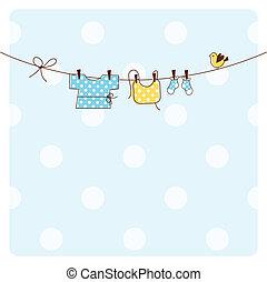 chuva bebê, cartão, convite
