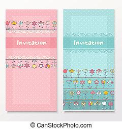 chuva bebê, cartões, com, engraçado, flowers.