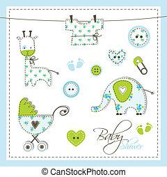 chuva bebê, elementos, desenho