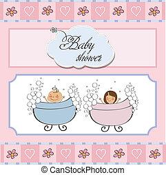 chuva bebê, gêmeos, cartão