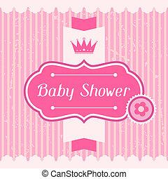 chuva bebê, menina, card., convite