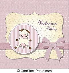 chuva bebê, menina, delicado, cartão