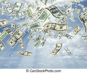 chuva, de, dólares