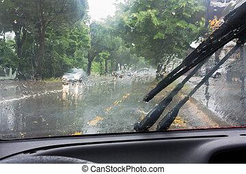 chuva, estrada