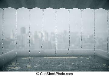 chuva, gotejando, de, telhado