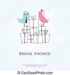 chuva nupcial, convite, com, dois, cute, pássaros, em, noiva...
