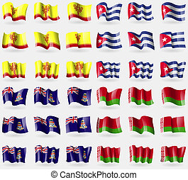 Chuvashia, Cuba, Cayman Islands, Belarus. Set of 36 flags of the countries of the world.