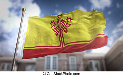 Chuvashia Flag 3D Rendering on Blue Sky Building Background