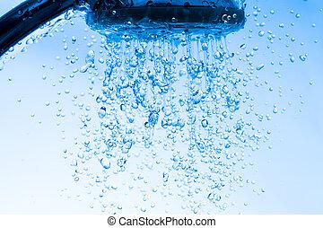 chuveiro, água, cabeça, executando