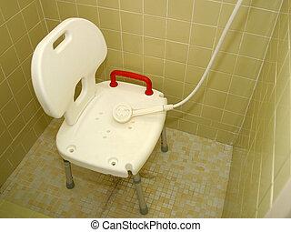 chuveiro, 2 médicos, cadeira