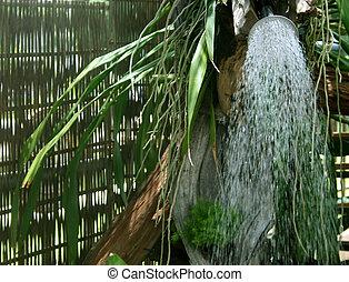 chuveiro, aguando, ao ar livre, refrescar