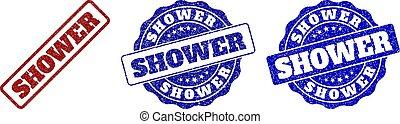 chuveiro, arranhado, selo, selos