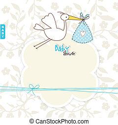 chuveiro, bebê, cópia, cartão, espaço