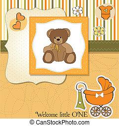 chuveiro, bebê, cartão, urso, pelúcia