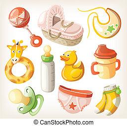 chuveiro, bebê, jogo, elementos