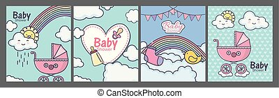 chuveiro, bebê, nuvens, cor-de-rosa, coração, arco íris, pram, cartões