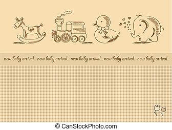 chuveiro, bebê, retro, cartão, brinquedos