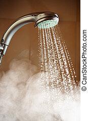 chuveiro, com, água corrente, e, vapor